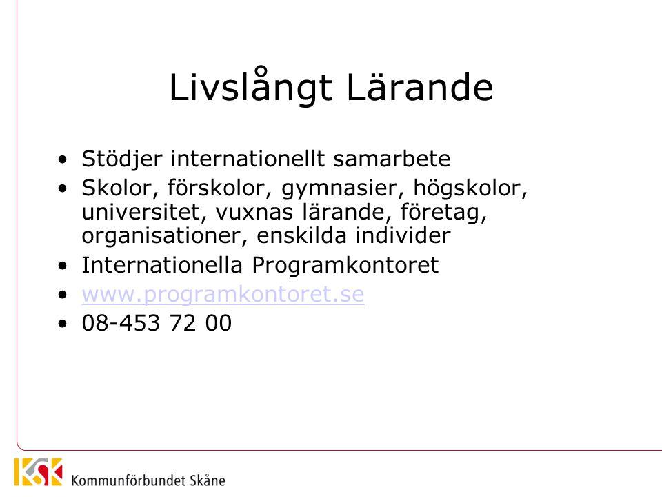 Livslångt Lärande Stödjer internationellt samarbete