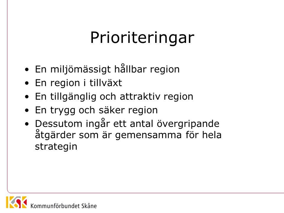Prioriteringar En miljömässigt hållbar region En region i tillväxt