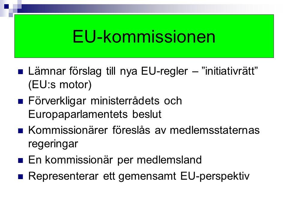 EU-kommissionen Lämnar förslag till nya EU-regler – initiativrätt (EU:s motor) Förverkligar ministerrådets och Europaparlamentets beslut.