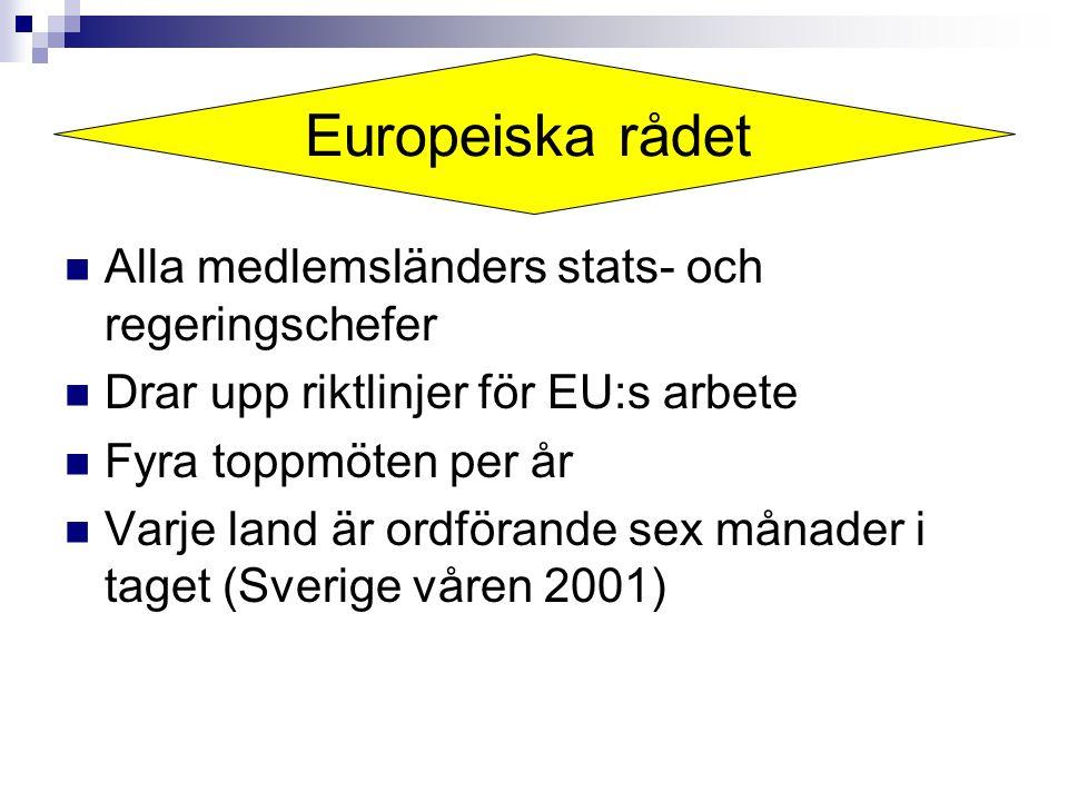 Europeiska rådet Alla medlemsländers stats- och regeringschefer