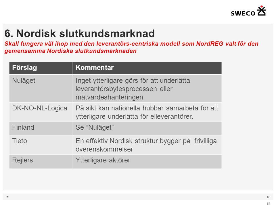 6. Nordisk slutkundsmarknad Skall fungera väl ihop med den leverantörs-centriska modell som NordREG valt för den gemensamma Nordiska slutkundsmarknaden