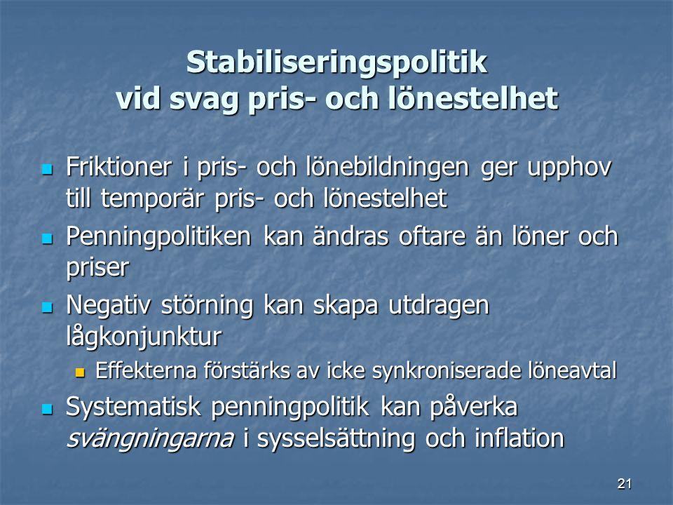 Stabiliseringspolitik vid svag pris- och lönestelhet