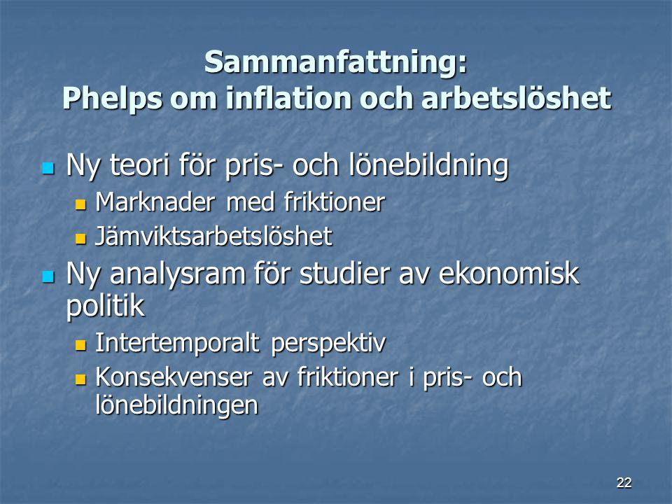 Sammanfattning: Phelps om inflation och arbetslöshet