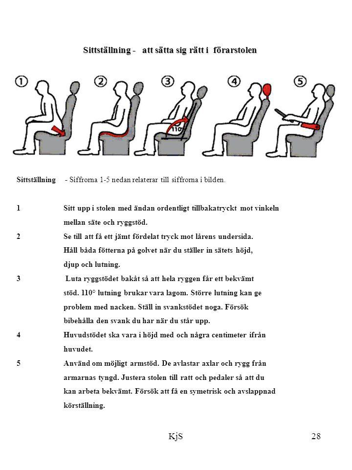 Sittställning - att sätta sig rätt i förarstolen