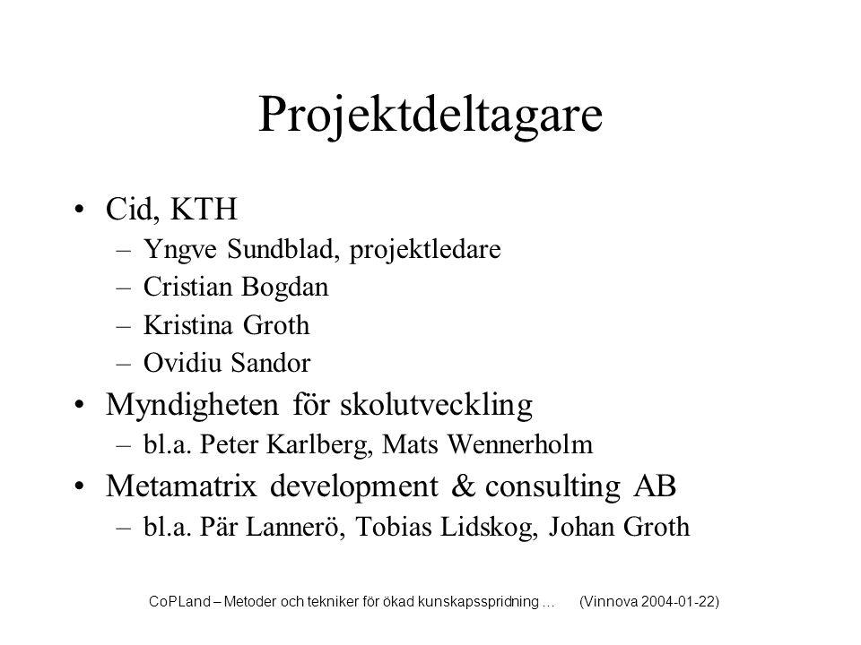 Projektdeltagare Cid, KTH Myndigheten för skolutveckling
