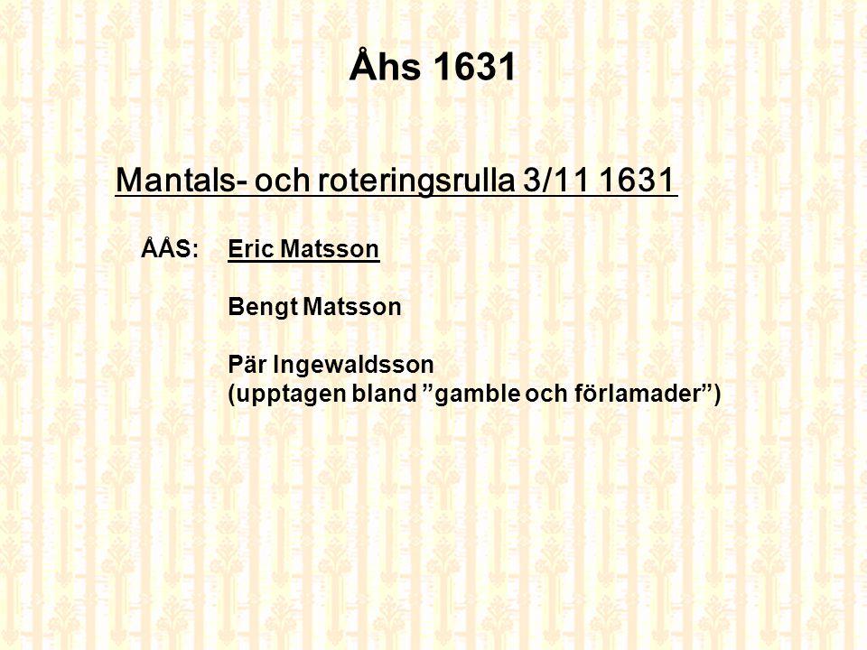 Åhs 1631 Mantals- och roteringsrulla 3/11 1631 ÅÅS: Eric Matsson