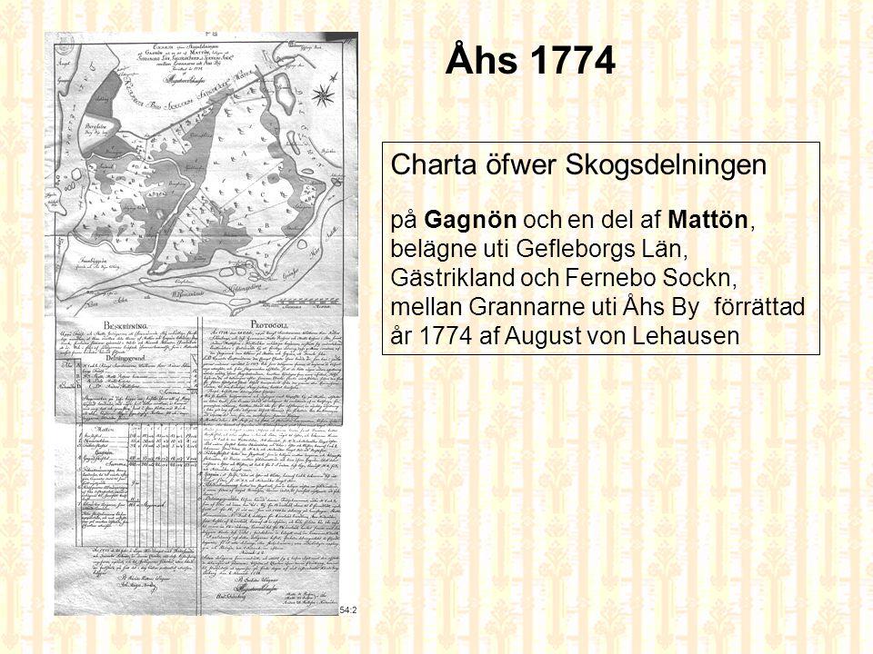 Åhs 1774 Charta öfwer Skogsdelningen på Gagnön och en del af Mattön,
