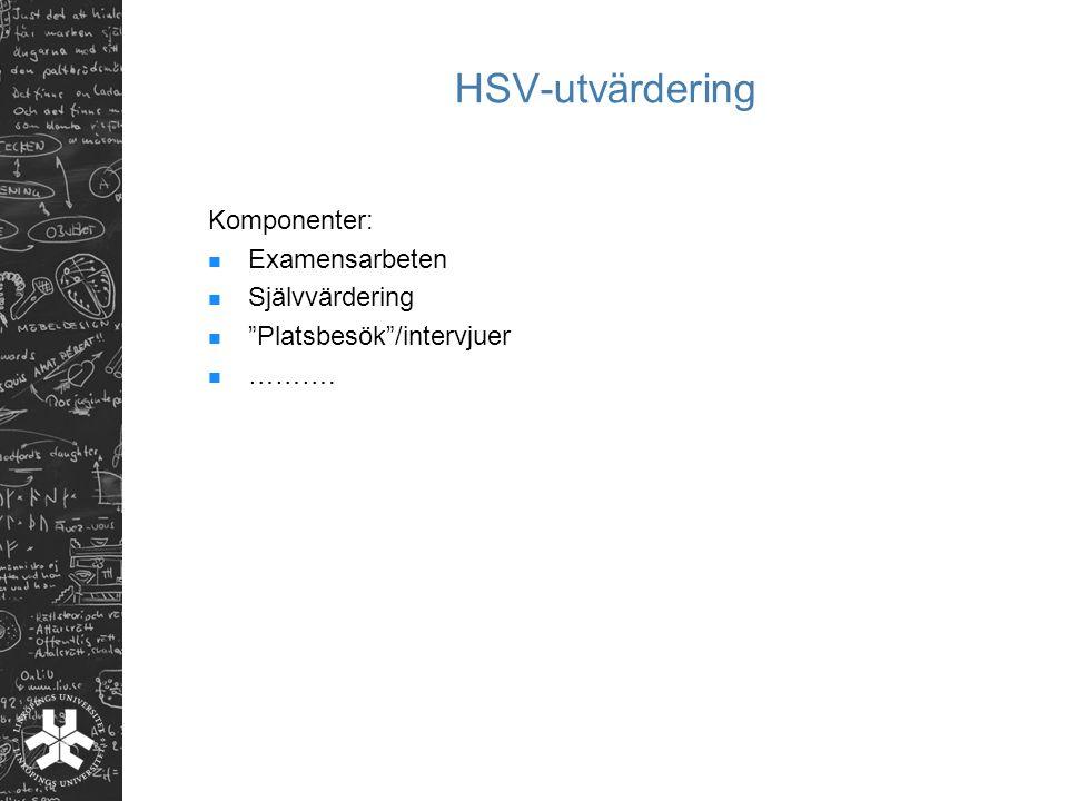 HSV-utvärdering Komponenter: Examensarbeten Självvärdering