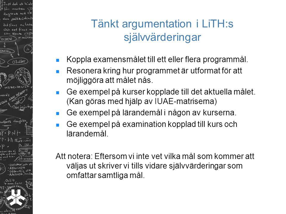 Tänkt argumentation i LiTH:s självvärderingar