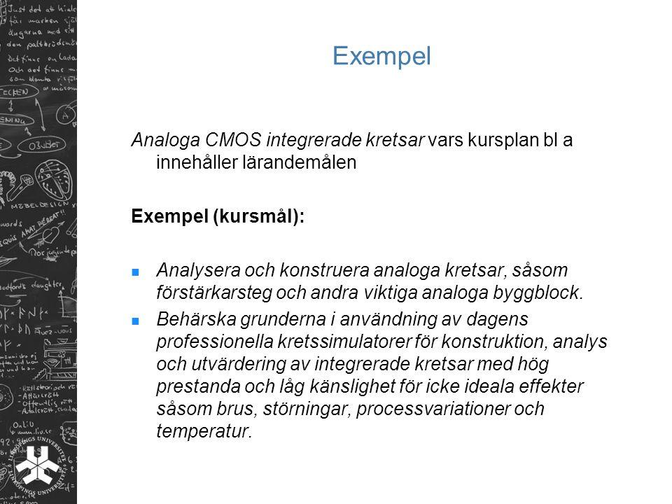 Exempel Analoga CMOS integrerade kretsar vars kursplan bl a innehåller lärandemålen. Exempel (kursmål):
