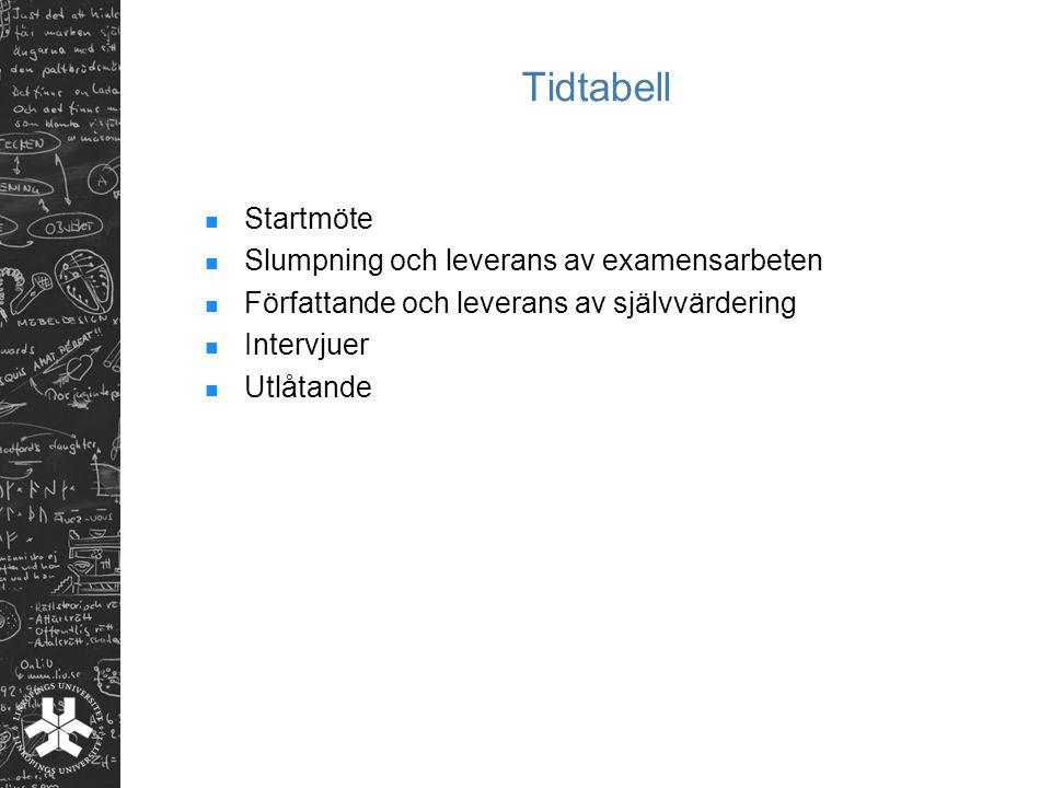 Tidtabell Startmöte Slumpning och leverans av examensarbeten