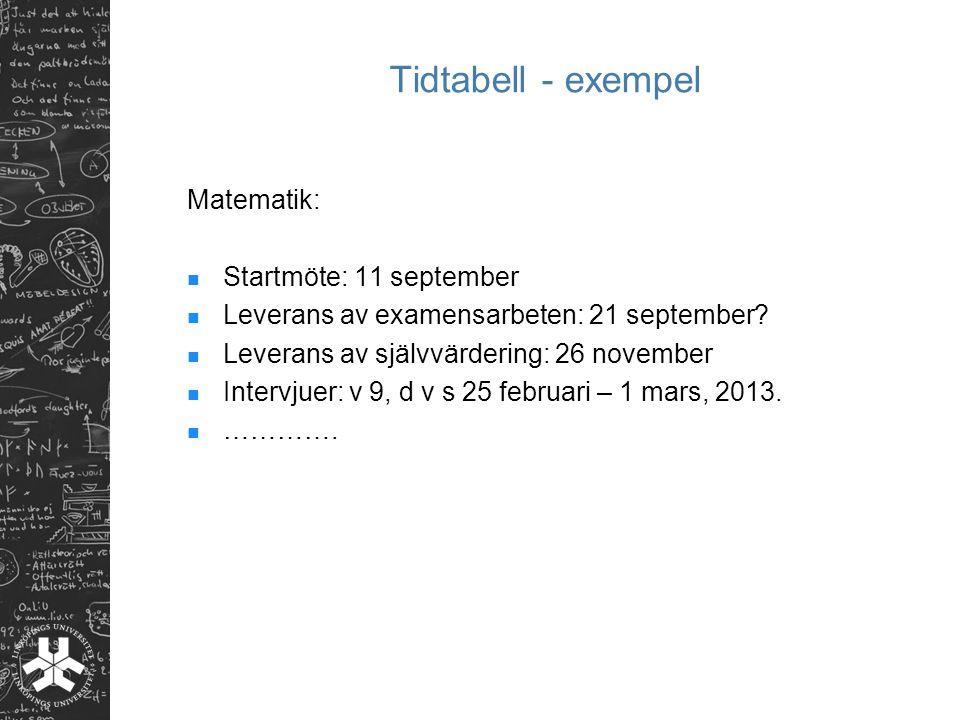 Tidtabell - exempel Matematik: Startmöte: 11 september