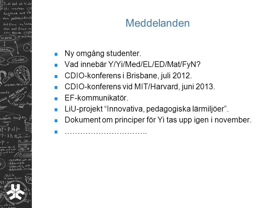 Meddelanden Ny omgång studenter. Vad innebär Y/Yi/Med/EL/ED/Mat/FyN