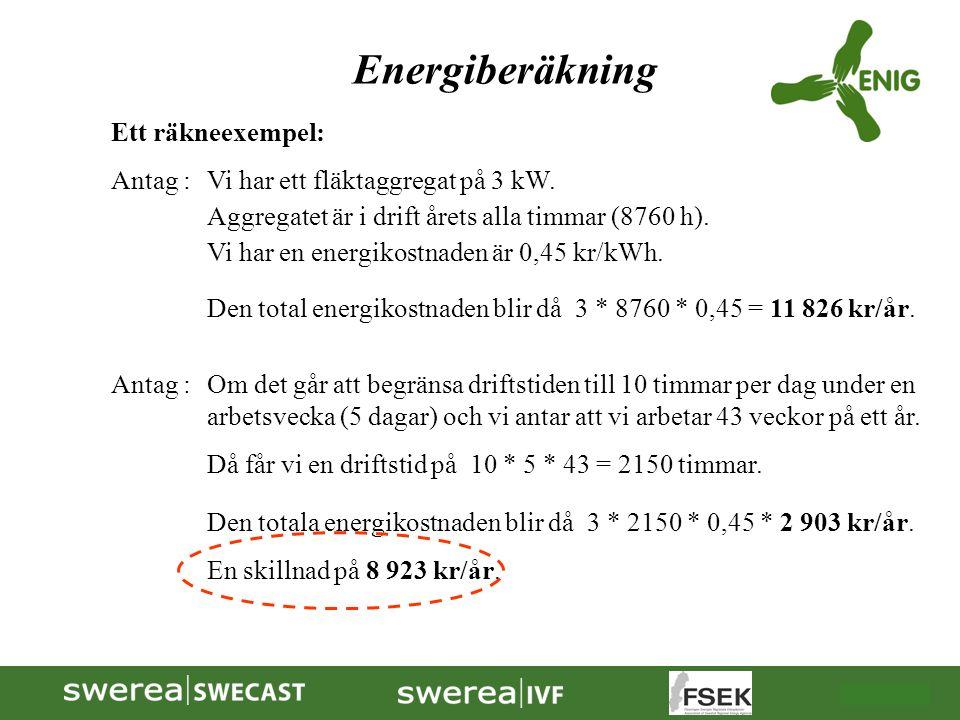 Energiberäkning Ett räkneexempel: