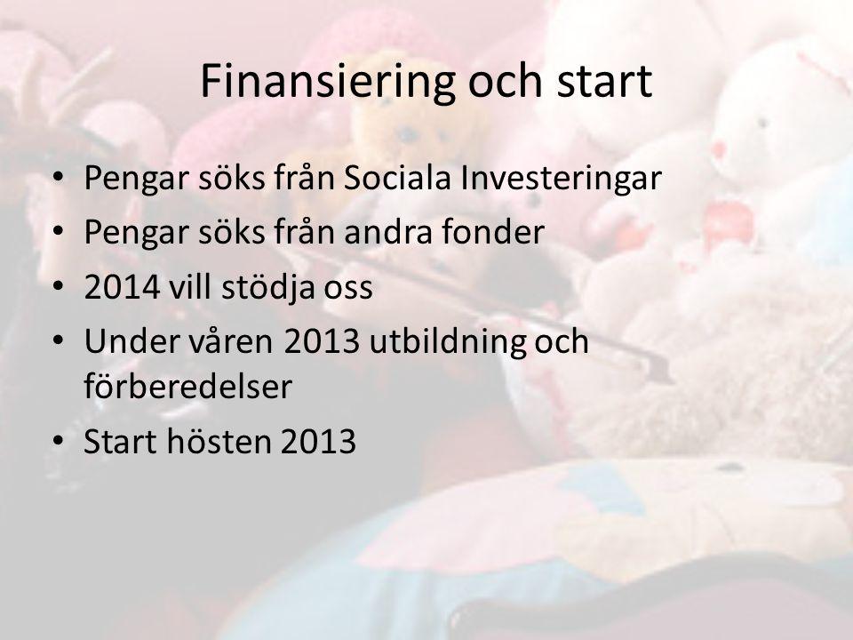 Finansiering och start
