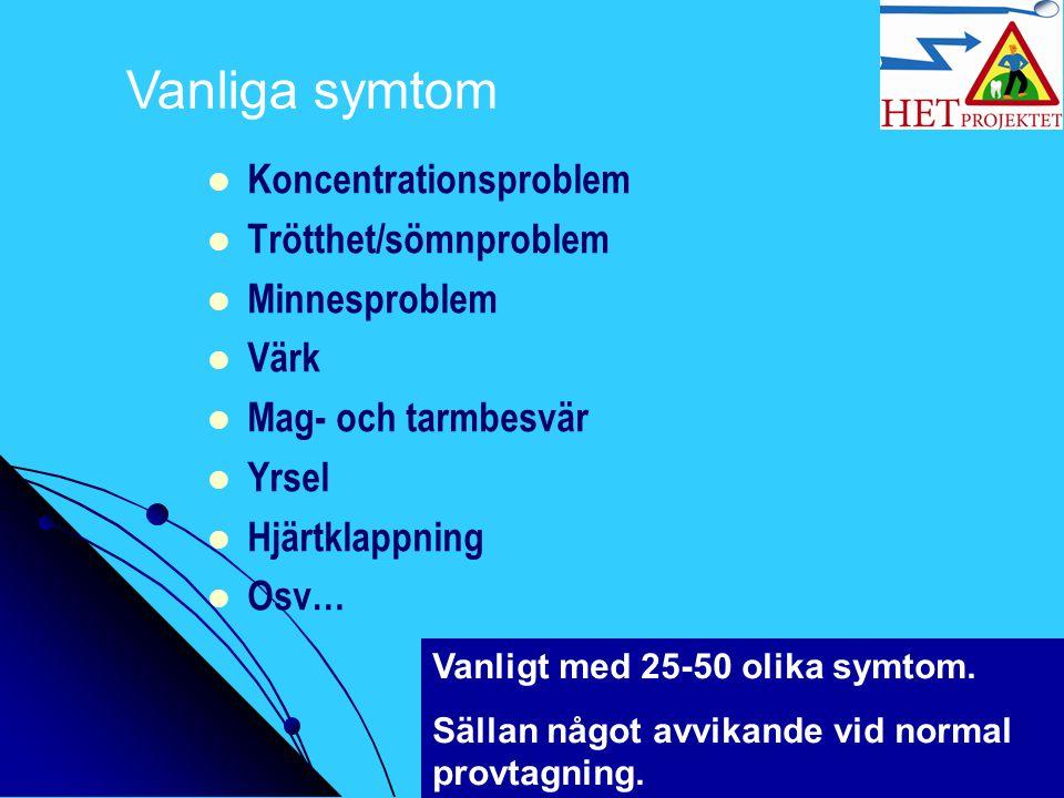 Vanliga symtom Koncentrationsproblem Trötthet/sömnproblem