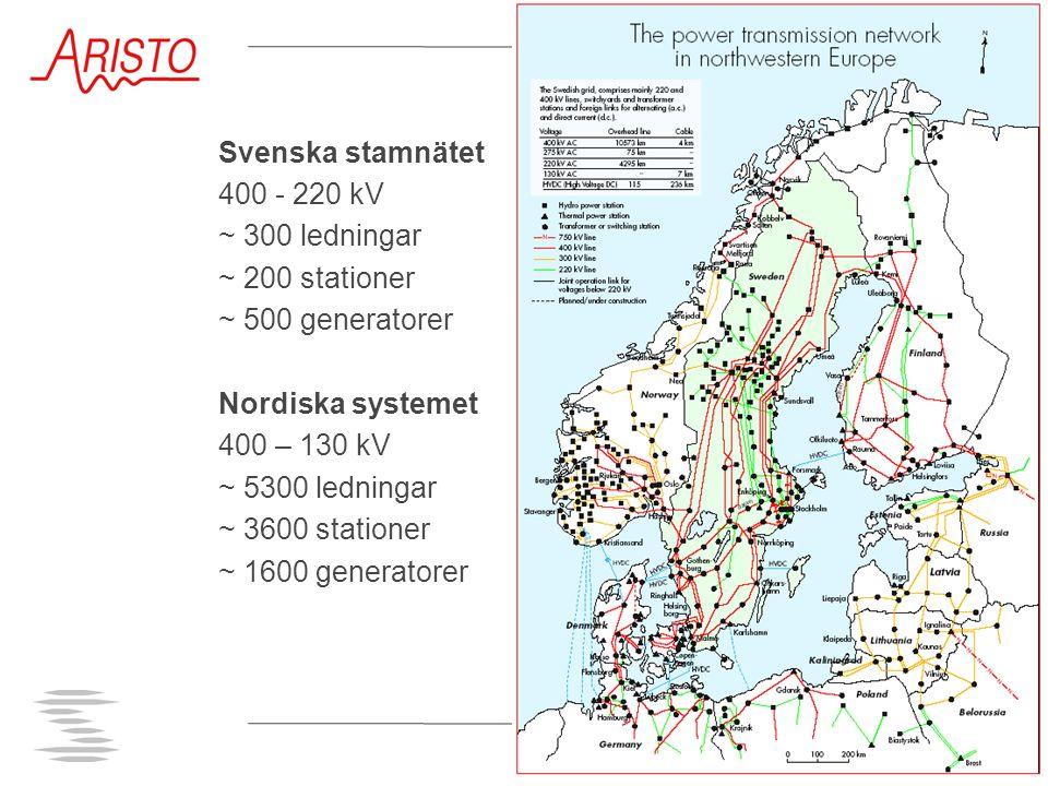 Svenska stamnätet 400 - 220 kV ~ 300 ledningar ~ 200 stationer