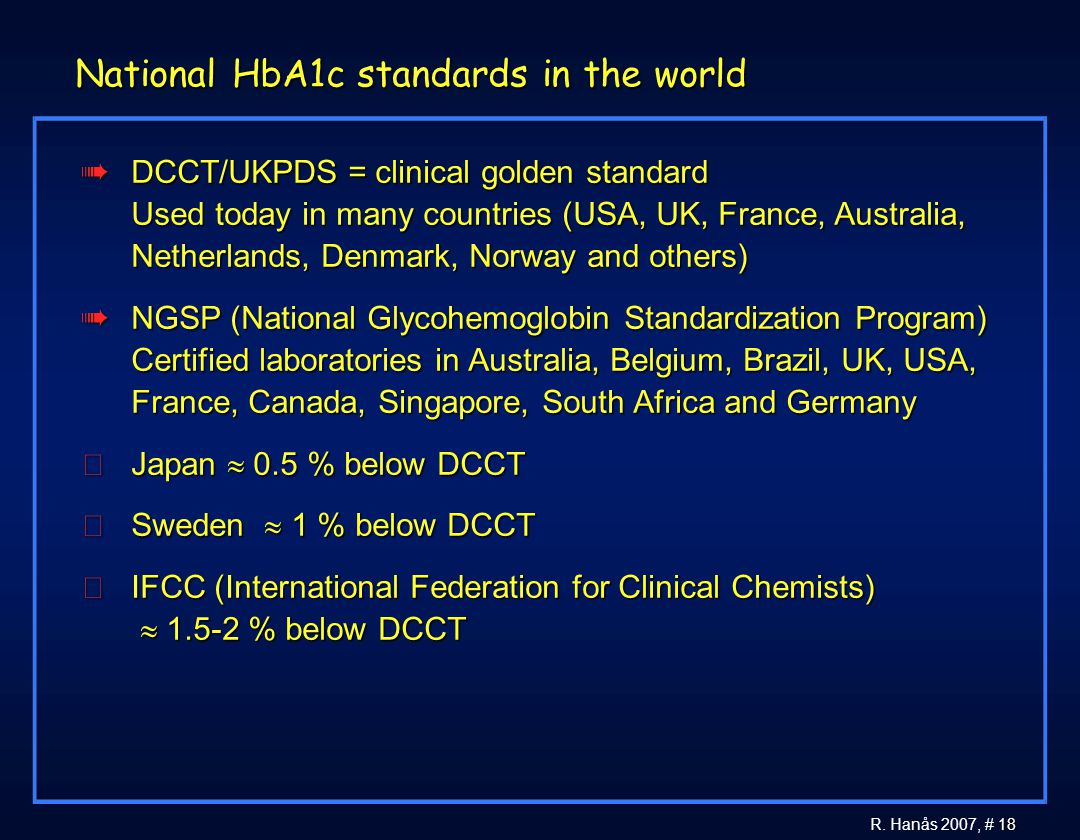 National HbA1c standards in the world