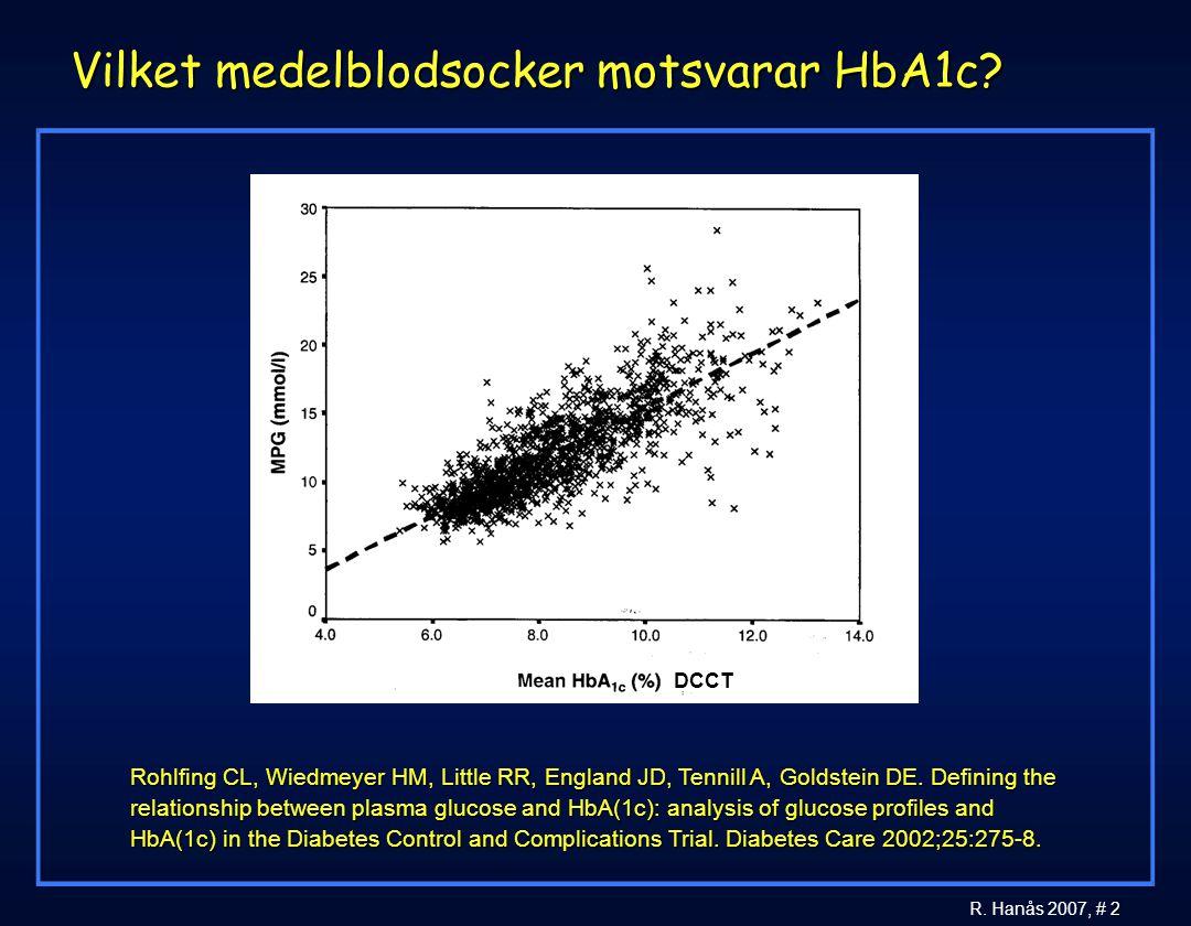 Vilket medelblodsocker motsvarar HbA1c