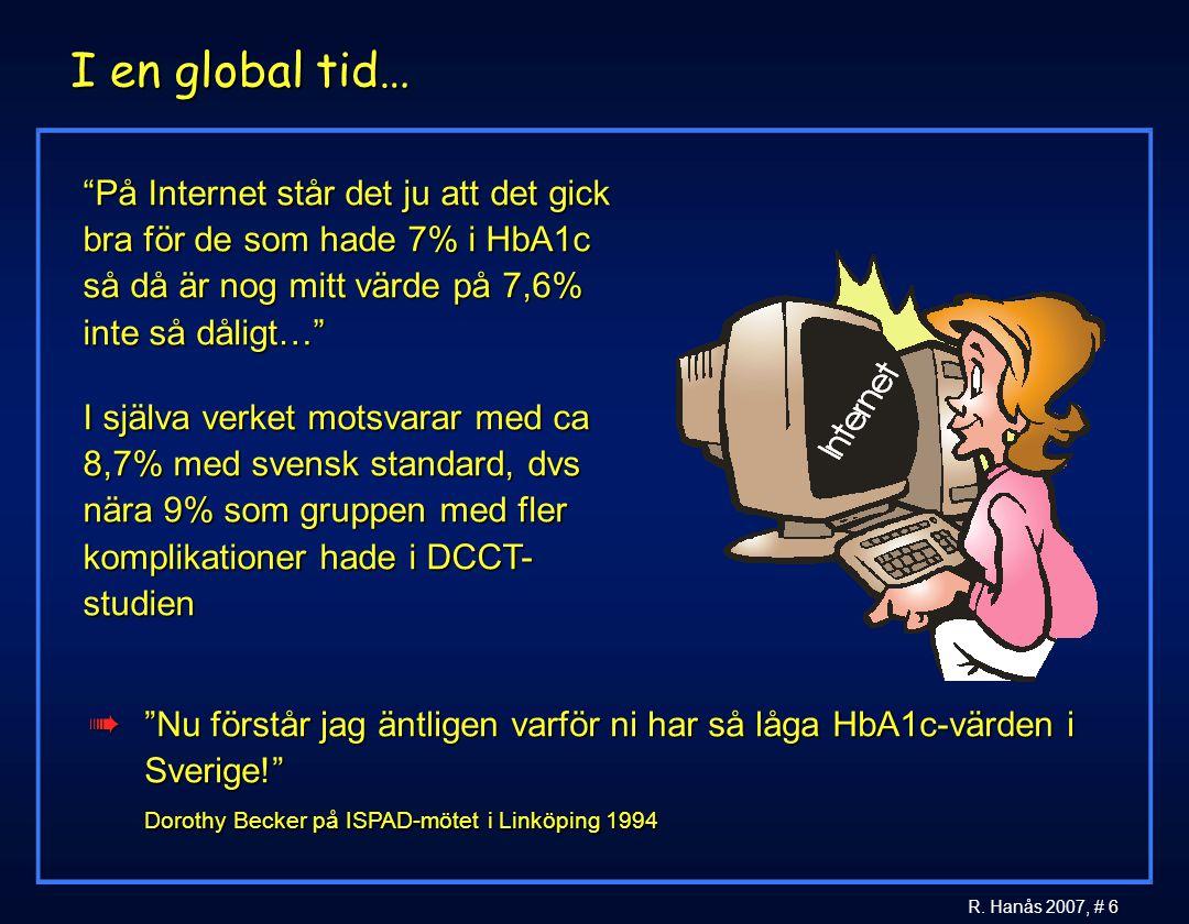I en global tid… På Internet står det ju att det gick bra för de som hade 7% i HbA1c så då är nog mitt värde på 7,6% inte så dåligt…