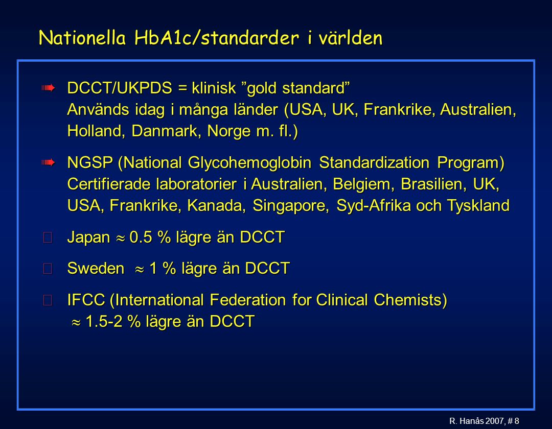 Nationella HbA1c/standarder i världen