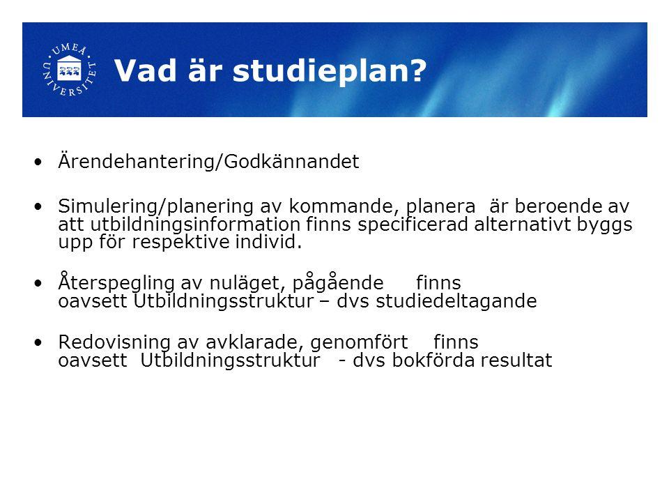 Vad är studieplan Ärendehantering/Godkännandet