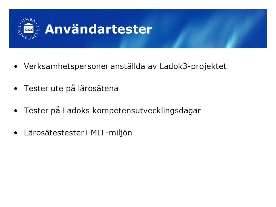 Användartester Verksamhetspersoner anställda av Ladok3-projektet