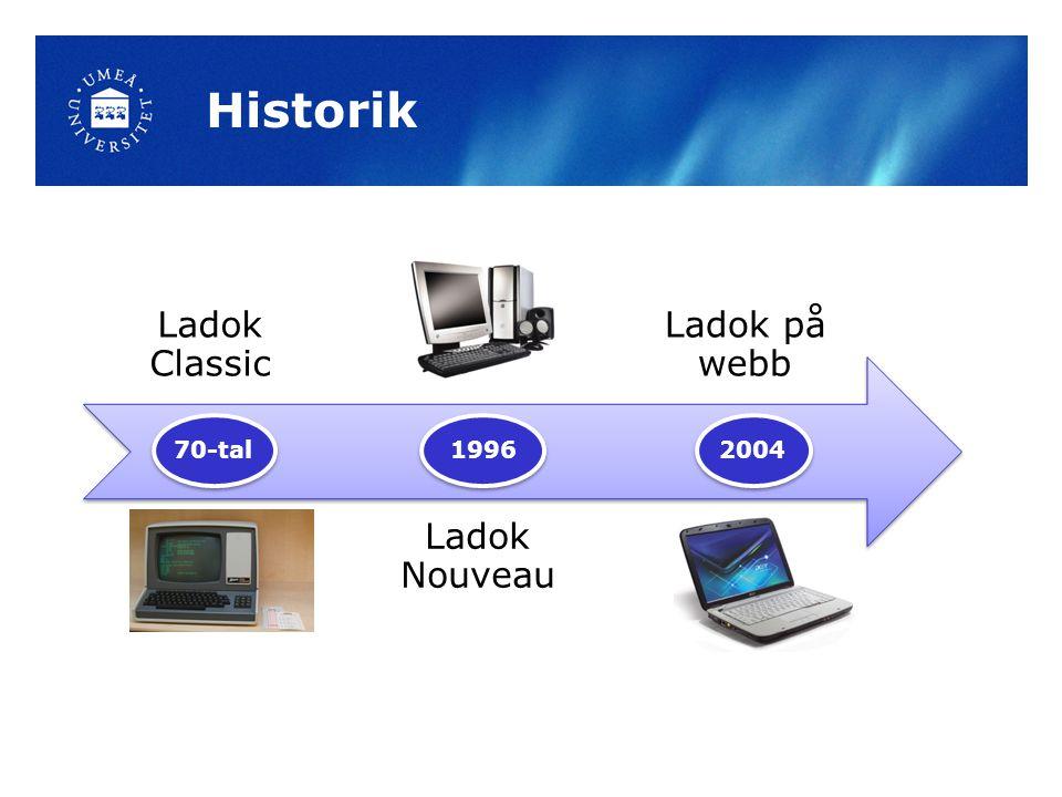 Historik Ladok Classic Ladok Nouveau Ladok på webb 70-tal 1996 2004