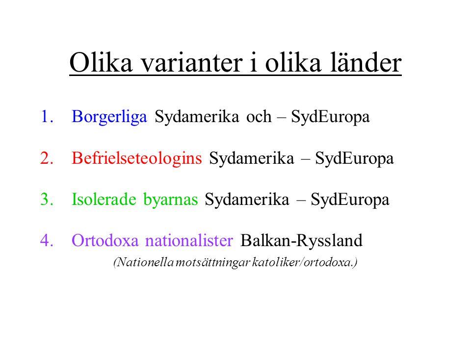 Olika varianter i olika länder