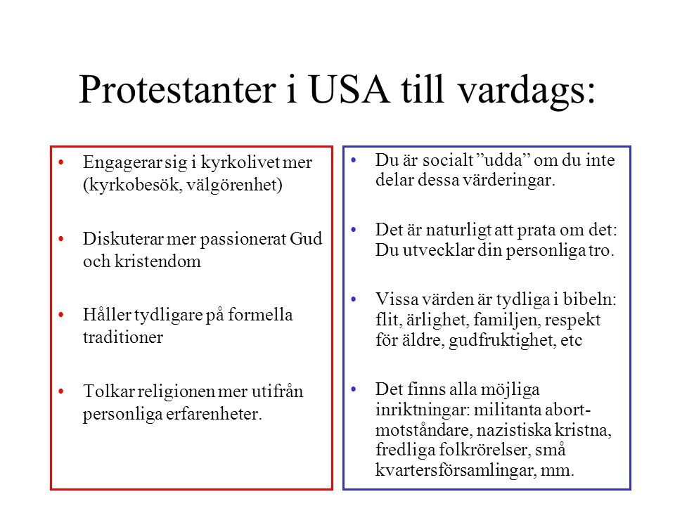 Protestanter i USA till vardags: