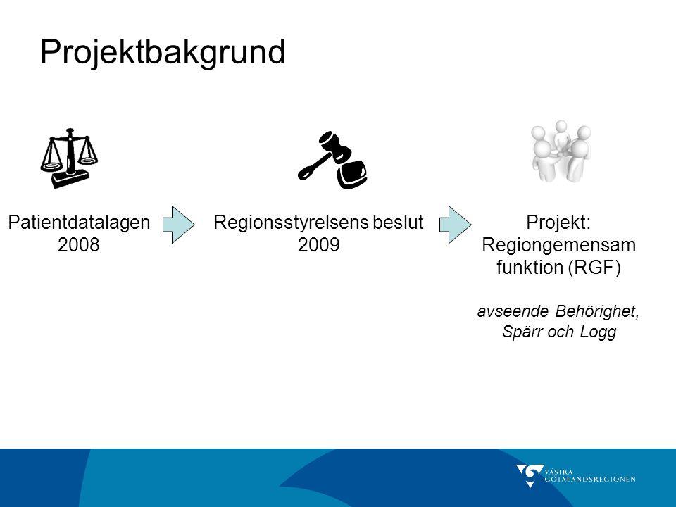 Projektbakgrund Patientdatalagen 2008 Regionsstyrelsens beslut 2009