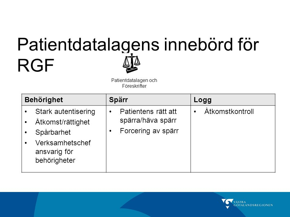Patientdatalagens innebörd för RGF