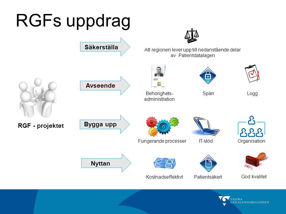 RGFs uppdrag Säkerställa Avseende Bygga upp RGF - projektet Nyttan