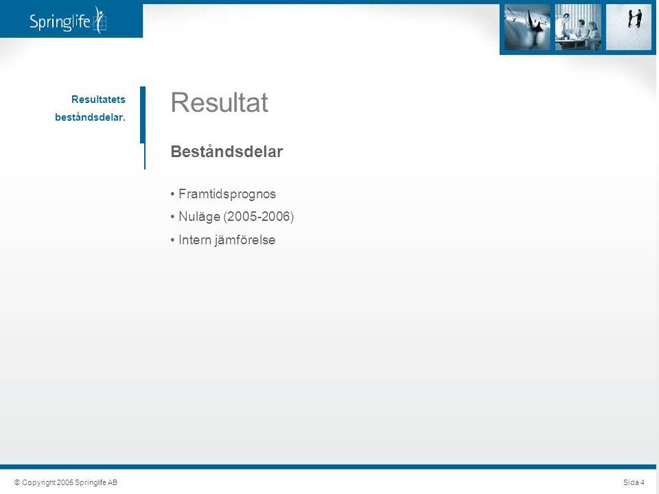 Resultat Beståndsdelar Framtidsprognos Nuläge (2005-2006)