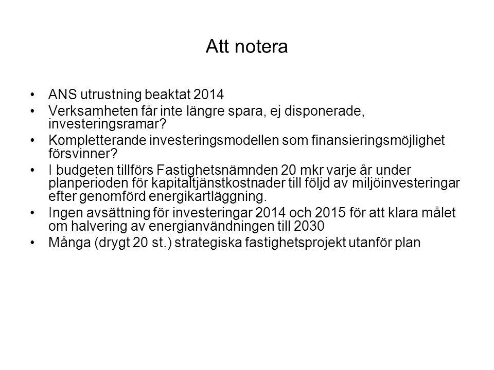 Att notera ANS utrustning beaktat 2014
