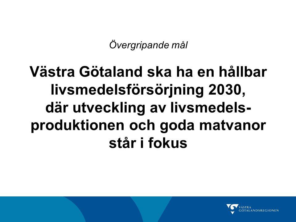 Övergripande mål Västra Götaland ska ha en hållbar livsmedelsförsörjning 2030, där utveckling av livsmedelsproduktionen och goda matvanor står i fokus