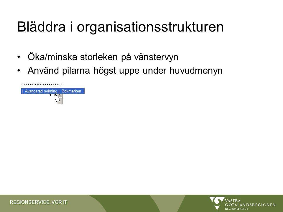 Bläddra i organisationsstrukturen