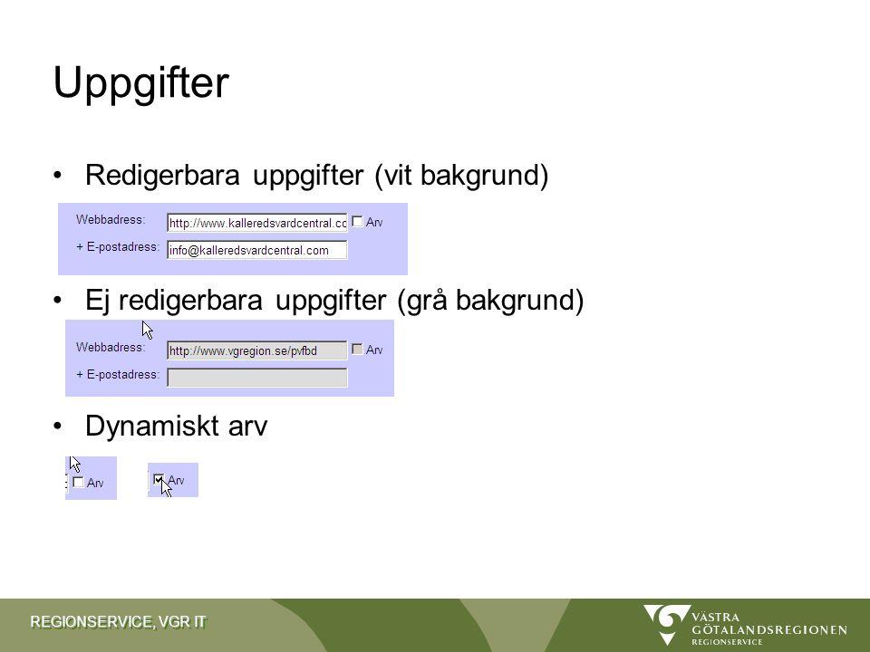 Uppgifter Redigerbara uppgifter (vit bakgrund)