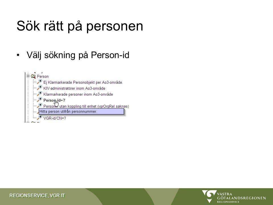 Sök rätt på personen Välj sökning på Person-id
