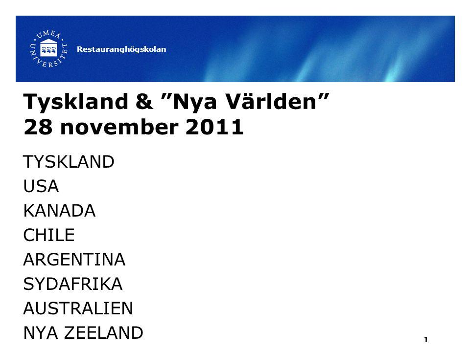 Tyskland & Nya Världen 28 november 2011