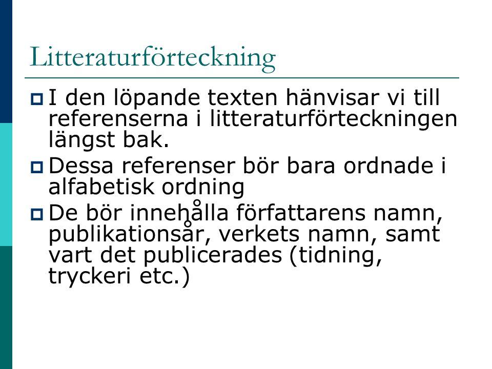 Litteraturförteckning