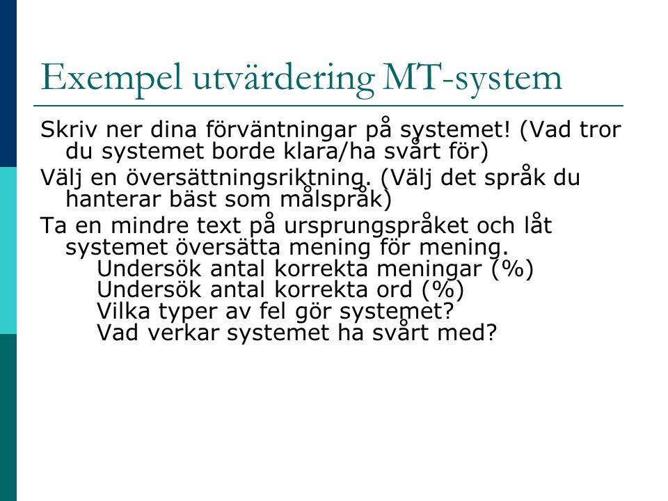 Exempel utvärdering MT-system