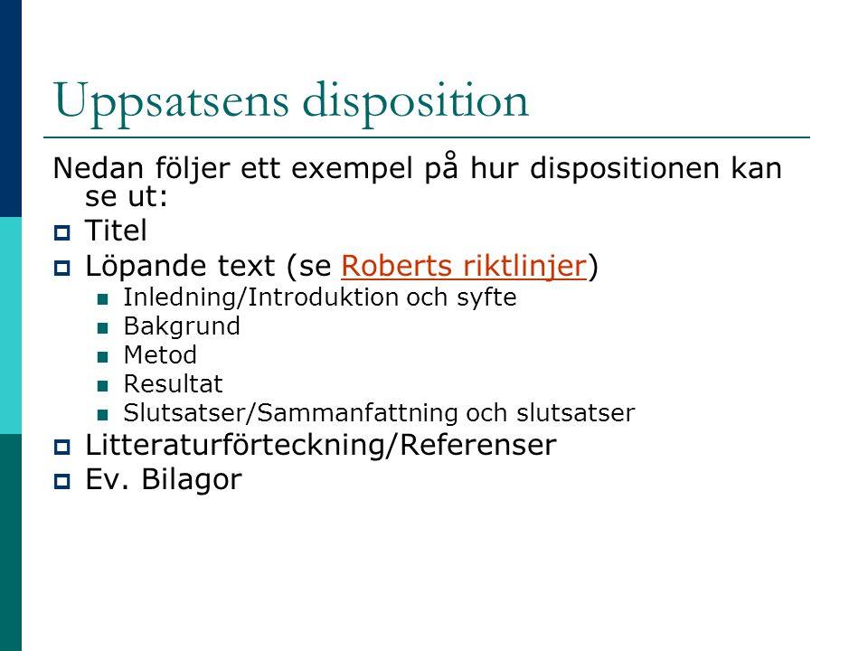 Uppsatsens disposition