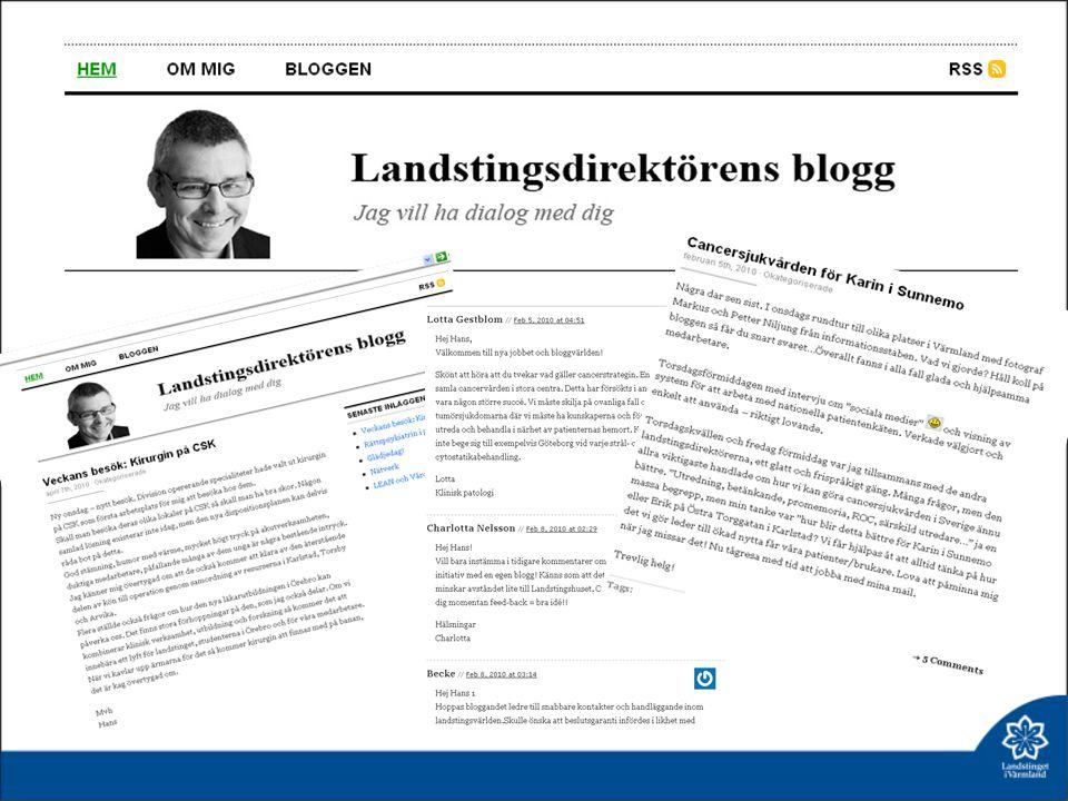 Skärmdumpar på en av vår interna pilotblogg Landstingsdirektörens blogg