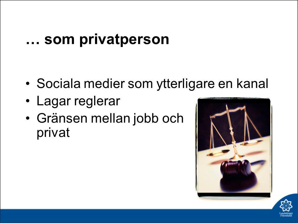 … som privatperson Sociala medier som ytterligare en kanal