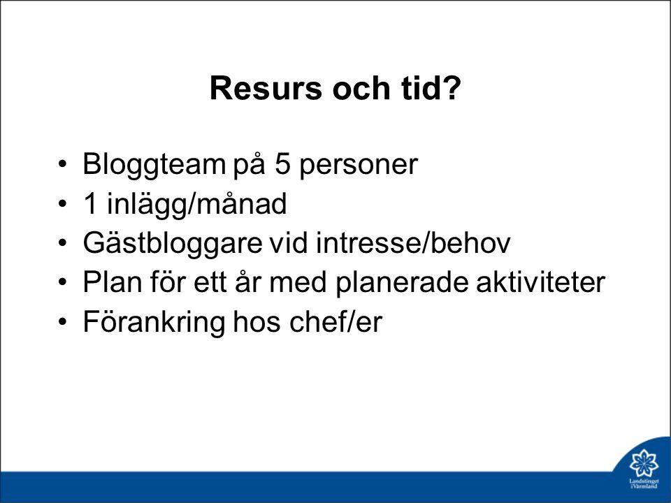 Resurs och tid Bloggteam på 5 personer 1 inlägg/månad