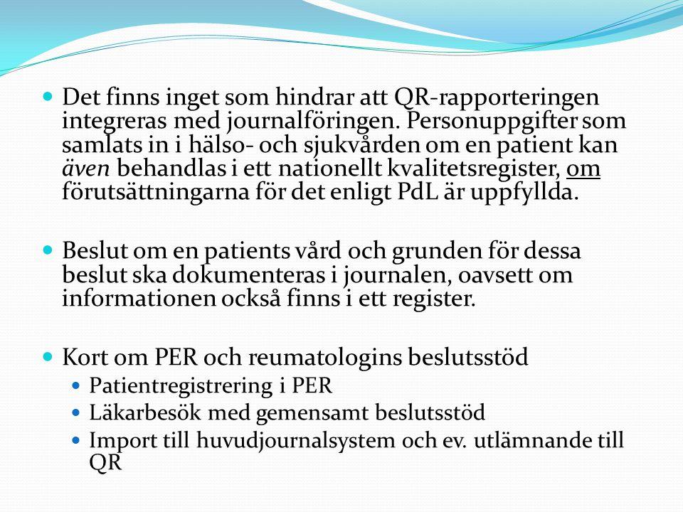 Kort om PER och reumatologins beslutsstöd
