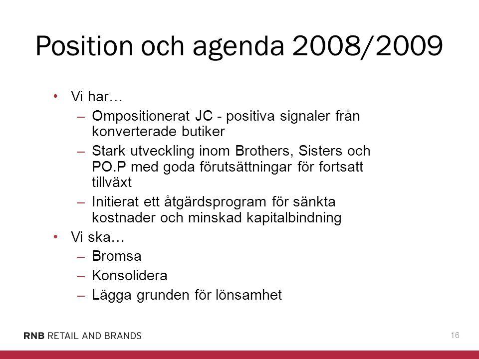 Position och agenda 2008/2009 Vi har…