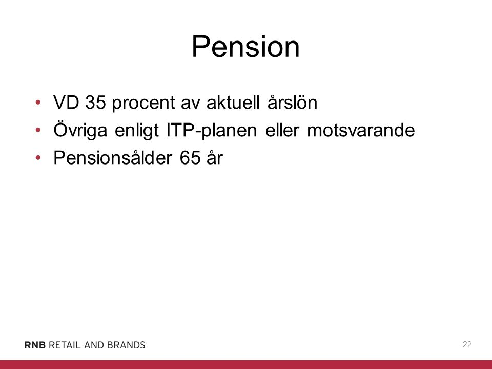 Pension VD 35 procent av aktuell årslön