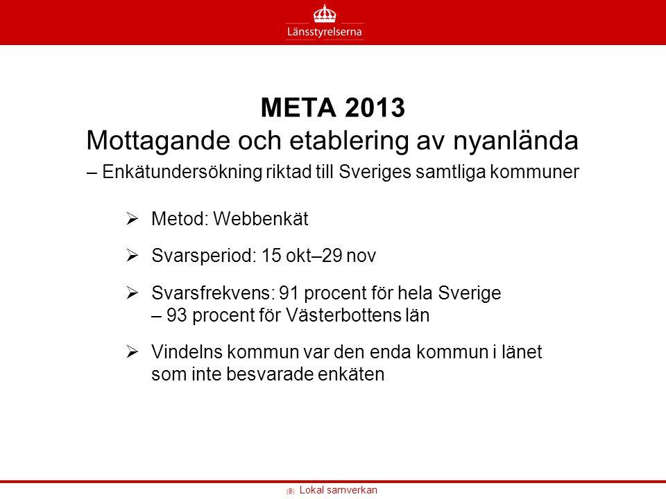 META 2013 Mottagande och etablering av nyanlända – Enkätundersökning riktad till Sveriges samtliga kommuner
